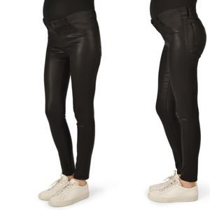 J. Brand maternity Super Skinny black coated jeans